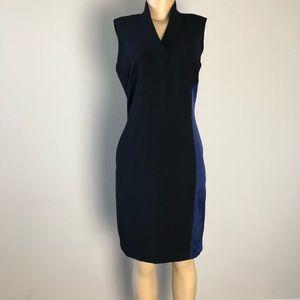 Elie Tahari Black/blue silk panel midi dress 6